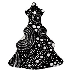 Circle Polka Dots Black White Ornament (christmas Tree)