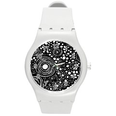 Circle Polka Dots Black White Round Plastic Sport Watch (m)