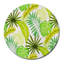 Amazon Forest Natural Green Yellow Leaf Round Mousepads