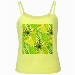 Amazon Forest Natural Green Yellow Leaf Yellow Spaghetti Tank