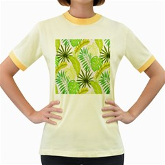 Amazon Forest Natural Green Yellow Leaf Women s Fitted Ringer T Shirts