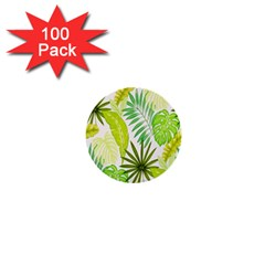 Amazon Forest Natural Green Yellow Leaf 1  Mini Buttons (100 Pack)