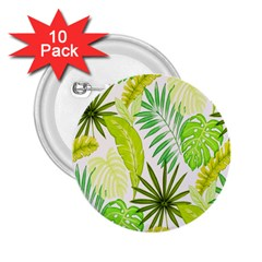 Amazon Forest Natural Green Yellow Leaf 2 25  Buttons (10 Pack)