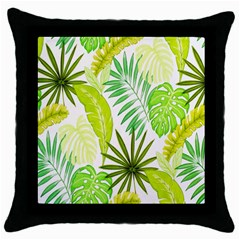 Amazon Forest Natural Green Yellow Leaf Throw Pillow Case (black) by Mariart