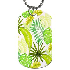 Amazon Forest Natural Green Yellow Leaf Dog Tag (one Side)