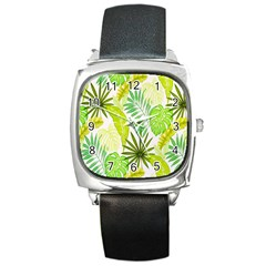 Amazon Forest Natural Green Yellow Leaf Square Metal Watch