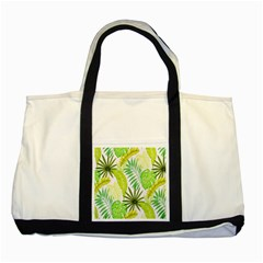Amazon Forest Natural Green Yellow Leaf Two Tone Tote Bag by Mariart