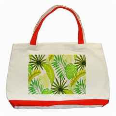 Amazon Forest Natural Green Yellow Leaf Classic Tote Bag (red) by Mariart