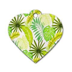 Amazon Forest Natural Green Yellow Leaf Dog Tag Heart (two Sides) by Mariart