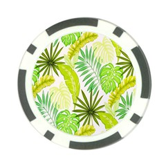 Amazon Forest Natural Green Yellow Leaf Poker Chip Card Guard