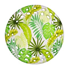 Amazon Forest Natural Green Yellow Leaf Round Filigree Ornament (two Sides) by Mariart