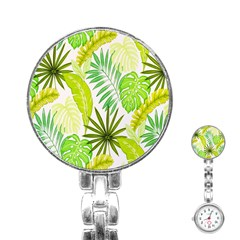 Amazon Forest Natural Green Yellow Leaf Stainless Steel Nurses Watch