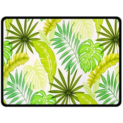 Amazon Forest Natural Green Yellow Leaf Double Sided Fleece Blanket (large)