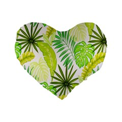 Amazon Forest Natural Green Yellow Leaf Standard 16  Premium Flano Heart Shape Cushions by Mariart