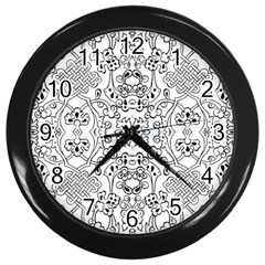 Black Psychedelic Pattern Wall Clocks (black)