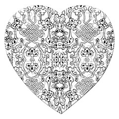 Black Psychedelic Pattern Jigsaw Puzzle (heart)