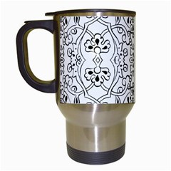 Black Psychedelic Pattern Travel Mugs (white)