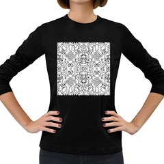 Black Psychedelic Pattern Women s Long Sleeve Dark T Shirts