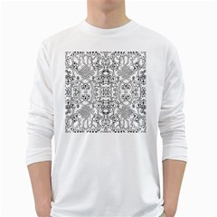 Black Psychedelic Pattern White Long Sleeve T-shirts