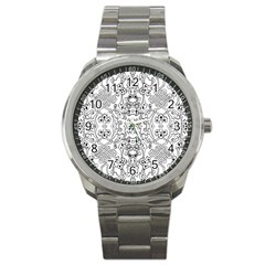Black Psychedelic Pattern Sport Metal Watch by Mariart