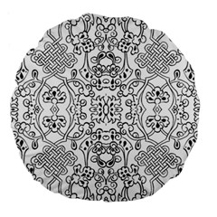 Black Psychedelic Pattern Large 18  Premium Round Cushions by Mariart