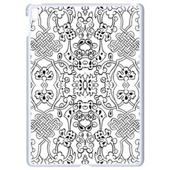 Black Psychedelic Pattern Apple Ipad Pro 9 7   White Seamless Case by Mariart