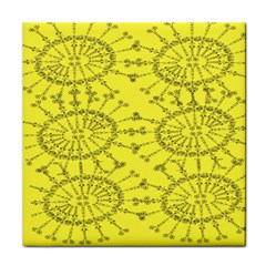 Yellow Flower Floral Circle Sexy Tile Coasters by Mariart