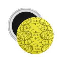 Yellow Flower Floral Circle Sexy 2 25  Magnets