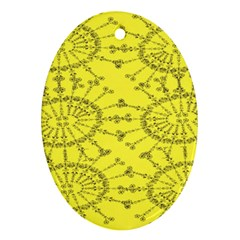 Yellow Flower Floral Circle Sexy Ornament (oval)