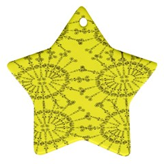 Yellow Flower Floral Circle Sexy Ornament (star)