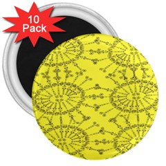 Yellow Flower Floral Circle Sexy 3  Magnets (10 Pack)