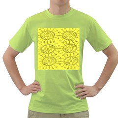 Yellow Flower Floral Circle Sexy Green T Shirt