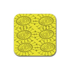 Yellow Flower Floral Circle Sexy Rubber Square Coaster (4 Pack)  by Mariart