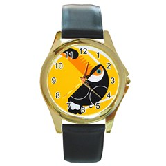 Cute Toucan Bird Cartoon Yellow Black Round Gold Metal Watch by Mariart
