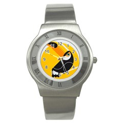 Cute Toucan Bird Cartoon Yellow Black Stainless Steel Watch by Mariart