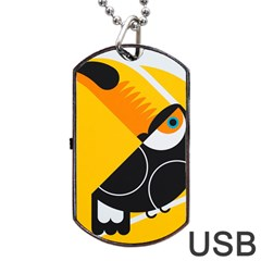 Cute Toucan Bird Cartoon Yellow Black Dog Tag Usb Flash (one Side) by Mariart
