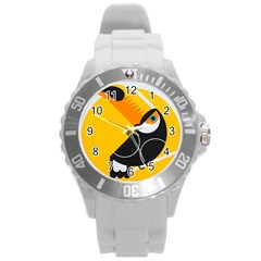 Cute Toucan Bird Cartoon Yellow Black Round Plastic Sport Watch (l) by Mariart