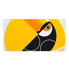 Cute Toucan Bird Cartoon Yellow Black Satin Shawl by Mariart