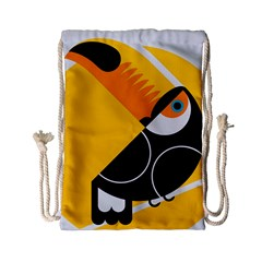 Cute Toucan Bird Cartoon Yellow Black Drawstring Bag (small) by Mariart