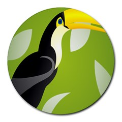 Cute Toucan Bird Cartoon Fly Yellow Green Black Animals Round Mousepads by Mariart