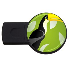 Cute Toucan Bird Cartoon Fly Yellow Green Black Animals Usb Flash Drive Round (4 Gb) by Mariart