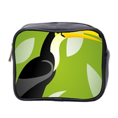 Cute Toucan Bird Cartoon Fly Yellow Green Black Animals Mini Toiletries Bag 2 Side by Mariart