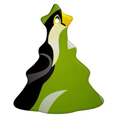 Cute Toucan Bird Cartoon Fly Yellow Green Black Animals Ornament (christmas Tree)
