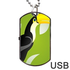 Cute Toucan Bird Cartoon Fly Yellow Green Black Animals Dog Tag Usb Flash (two Sides) by Mariart
