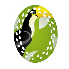 Cute Toucan Bird Cartoon Fly Yellow Green Black Animals Oval Filigree Ornament (two Sides) by Mariart