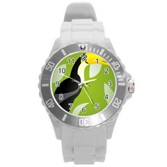 Cute Toucan Bird Cartoon Fly Yellow Green Black Animals Round Plastic Sport Watch (l) by Mariart