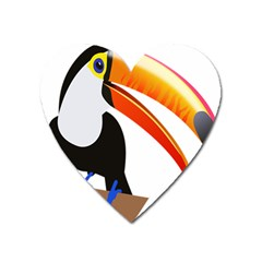 Cute Toucan Bird Cartoon Fly Heart Magnet by Mariart
