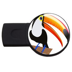 Cute Toucan Bird Cartoon Fly Usb Flash Drive Round (2 Gb) by Mariart