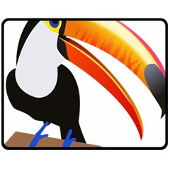 Cute Toucan Bird Cartoon Fly Fleece Blanket (medium)  by Mariart