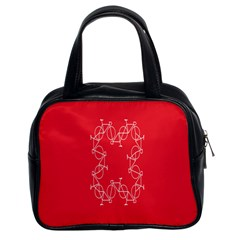 Cycles Bike White Red Sport Classic Handbags (2 Sides) by Mariart